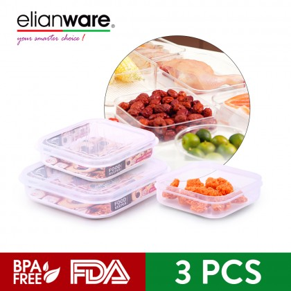 Elianware 3Pcs [BPA FREE] Transparent Sqaure Fridge Freezer Microwavable Food Container Storage Keeper