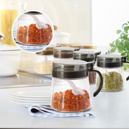 Elianware 350ml Kitchen Glass Condiment Jar [FREE SPOON] Spice Seasoning Container with Handle