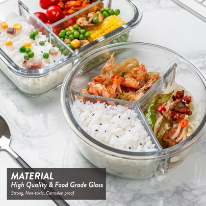 Elianware Round Airtight Borosilicate Glasslock Keeper [ with Compartment ] Multipurpose Food Storage Lunch Box