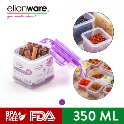 Elianware Ezy-Lock Airtight Square [350ml] Microwavable Food Containers