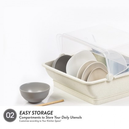 Elianware Extra Large Dust Free Home Dish Rack Disk Drainer with Cover