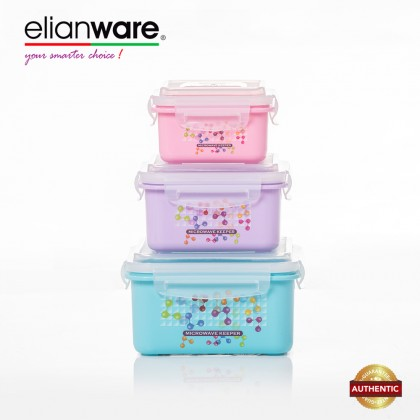 Elianware 3 Pcs Ezy-Lock 100% Airtight Neutron Microwavable Food Containers