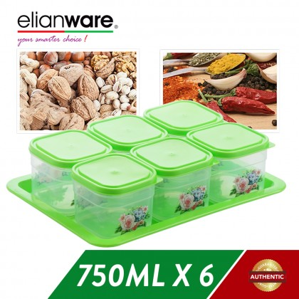 Elianware 6 Pcs BPA Free Cookies Snacks Candy Square Airtight Plastic Container with Tray