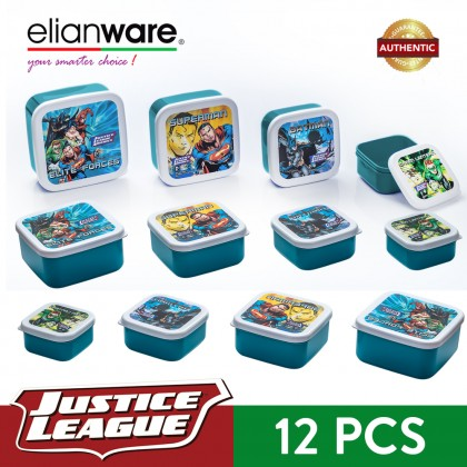 Elianware DC Justice League 4 Pcs BPA Free Square Multipurpose Airtight Food Container Set
