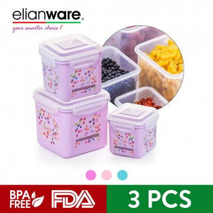 Elianware Square Ezy-Lock 100% Airtight Neutron Microwavable Food Containers