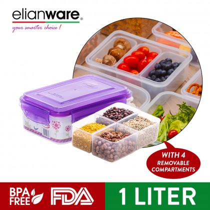 Elianware 1 Ltr BPA FREE 100% Airtight Food Keeper [with 4 Compartments]