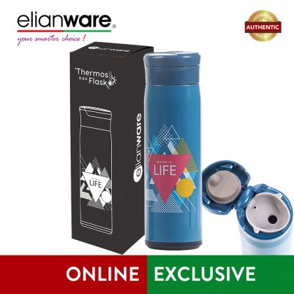"Elianware 470ml Stainless Steel ""Water is Life"" High Insulation Thermos Vacuum Flask"
