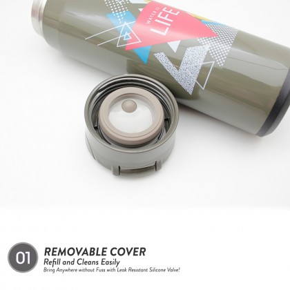 """Elianware 470ml Stainless Steel """"Play Your Soul"""" High Insulation Thermos Vacuum Flask"""