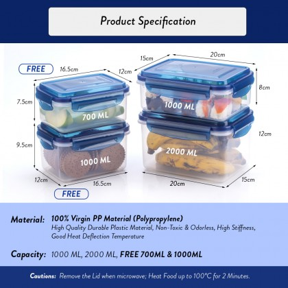 Elianware Ezy-Lock Airtight Seal Rectangular Microwavable Food Containers [BUY 2 FREE 2]