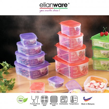 Elianware 5 in 1 Set Transparent Microwavable Food Containers Set BPA Free [BUY 3 FREE 2]