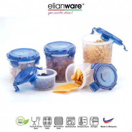 Elianware Ezy-Lock 100% Airtight Seal Round Microwavable Food Containers