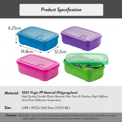 Elianware Lunch Box Container With Fork & Spoon Bento Lunchbox (1.0L)