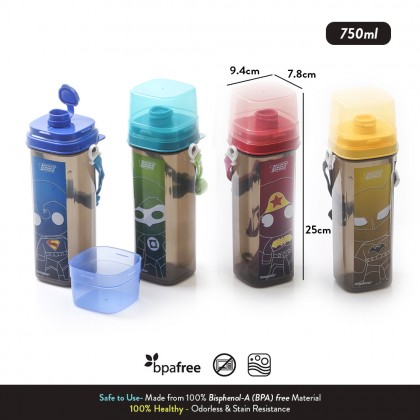 Elianware DC Justice League Water Bottle with Strap + FREE Lunch Box with Fork & Spoon