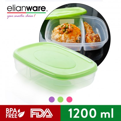 Elianware 2 Compartments Divided Lunch Box Container Reheatable Bento Lunch Box (1.2L)