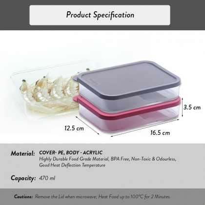 Elianware E-Concept (470ml) Rectangular Acrylic BPA FREE Microwavable Kitchen Fridge Freezer Organizer