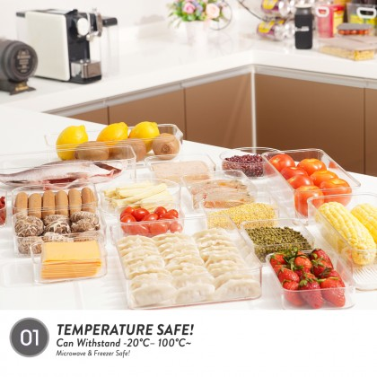Elianware E-Concept (550ml) Square Acrylic BPA FREE Microwavable Kitchen Fridge Freezer Organizer
