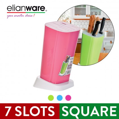 Elianware Durable Plastic 7 Slots Block Knife Holder