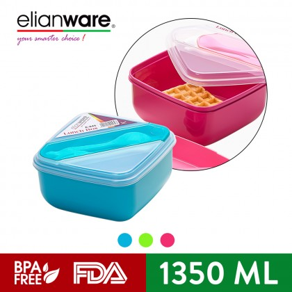 Elianware 3 Compartments Lunch Box Container With Fork & Spoon (1.35L)