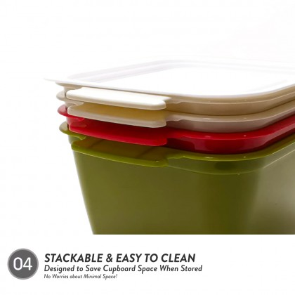 Elianware 4 Layer Tier Microwaveable [BPA FREE] Square Tiffin Food Carrier Lunch Box with Cariolier