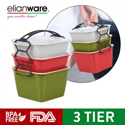 Elianware 3 Layer Tier Microwaveable [BPA FREE] Square Tiffin Food Carrier Lunch Box with Cariolier