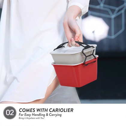 Elianware 2 Layer Tier Microwaveable [BPA FREE] Square Tiffin Food Carrier Lunch Box with Cariolier
