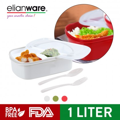 Elianware Healthy Food Microwavable [BPA FREE] Lunch Box Bento with Fork & Spoon (1.0L)