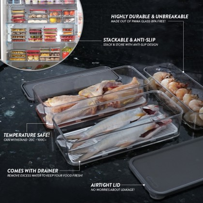 Elianware E-Concept Value Set (6 Pcs) Fridge Organizer [FREE 1 x 1.7L Fridge Keeper]