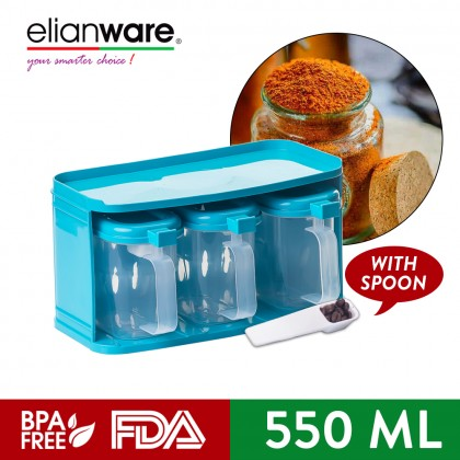Elianware 3Pcs Condiment Dispenser Spices Container Set with Spoon