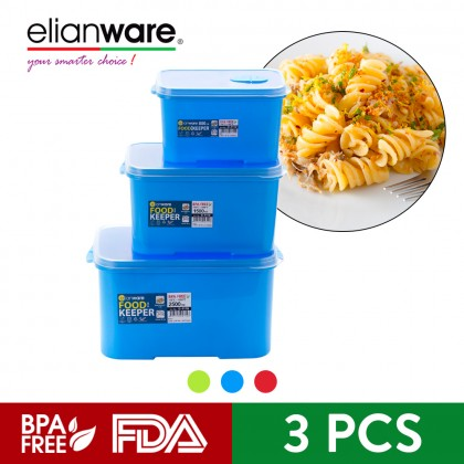 Elianware 3Pcs BPA Free Rectangular Special Food Keeper Set Microwavable Food Container