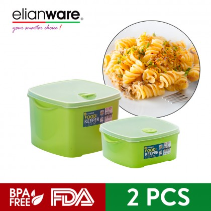Elianware 2Pcs BPA Free Rectangular Special Food Keeper Set Microwavable Food Container