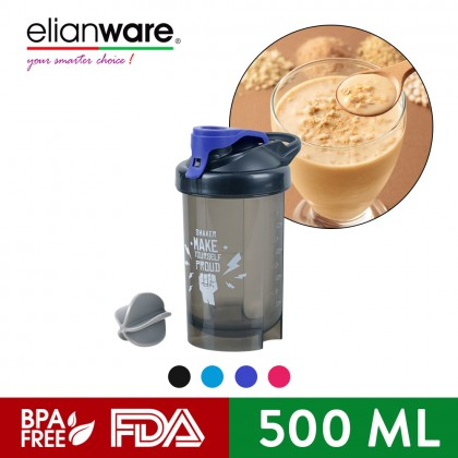 Elianware Protein Shaker Blender BPA Free Container with MIxing Ball (500ML)