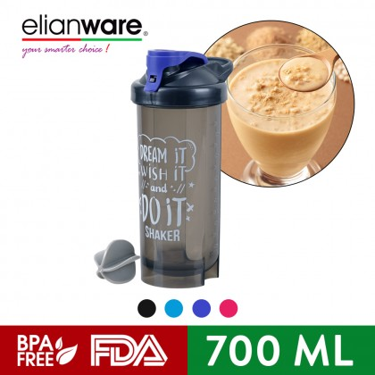 Elianware Protein Shaker Blender BPA Free Container with MIxing Ball (700ML)