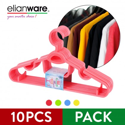 Elianware 10Pcs Set Value-Pack Durable Hanger Clothes Penyangkut Baju
