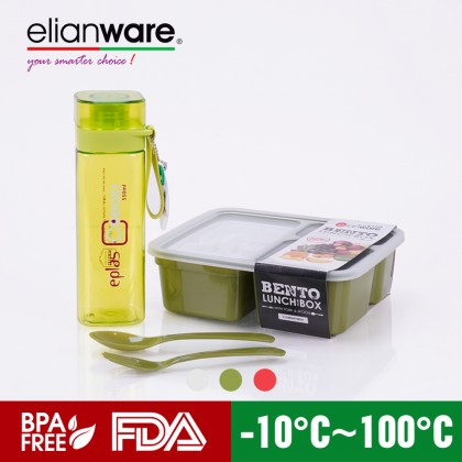 elianware 3 Compartments Bento Lunch Box with eplas 550ml Transparent Square Design Tumbler Bottle