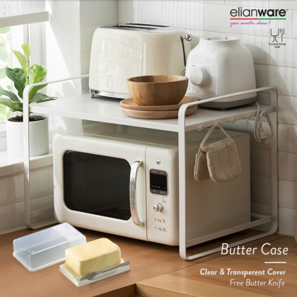 Elianware Transparent Butter Case Keeper Storage with Cover [FREE Butter Knife]