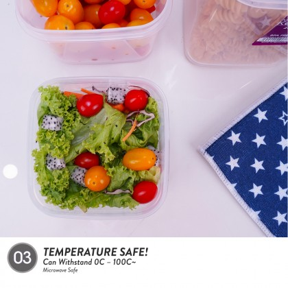 Elianware 3Pcs BPA Free Multipurpose Square Airtight Food Storage Keeper Set Microwavable Food Container