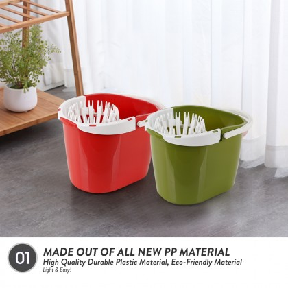 Elianware 12L Spin Squeeze Dry Mop Pail Mop Lantai Bucket