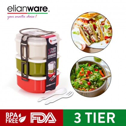 ELIANWARE 3 Layer Tier Microwaveable BPA Free Square Tiffin Food Carrier Lunch Box with Spoon & Fork