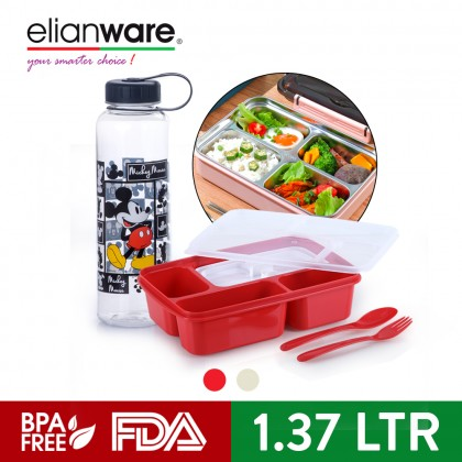 Elianware (1.37 Ltr) Microwavable 4 Compartments Bento Lunch Box Container with 1L Cartoon Mickey Design Bottle