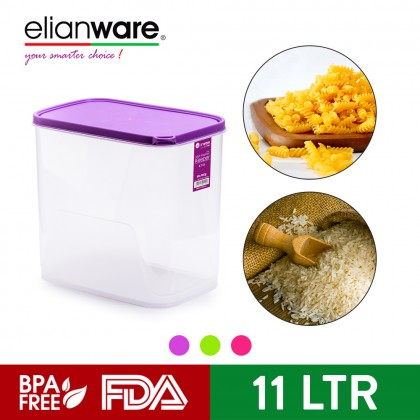 Elianware 11Ltr [BPA Free] Multipurpose Rectangular Airtight Food Rice Storage Keeper Microwavable Container