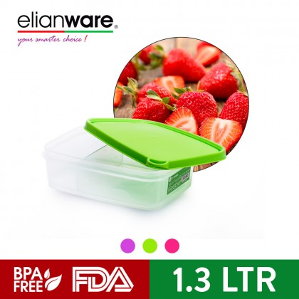 Elianware 1.3 Ltr [BPA Free] Multipurpose Rectangular Airtight Microwavable Food Container Storage Keeper with Compartment