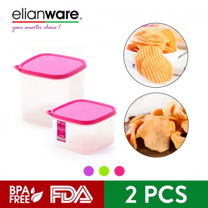 Elianware 2Pcs [BPA Free] Multipurpose Large Square Airtight Food Storage Keeper Set Microwavable Food Container