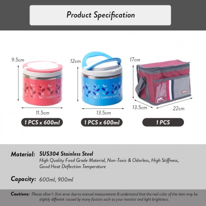 Elianware 2Pcs S304 Stainless Steel Thermal Lunch Box (600ml + 900ml) with Premium Lunch Bag Thermal Insulated Lunch Box Bag