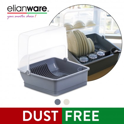 Elianware XL Covered Dish Rack Drainer with 30Pcs White Marble Design Tableware Dining Plate & Square Bowl Set